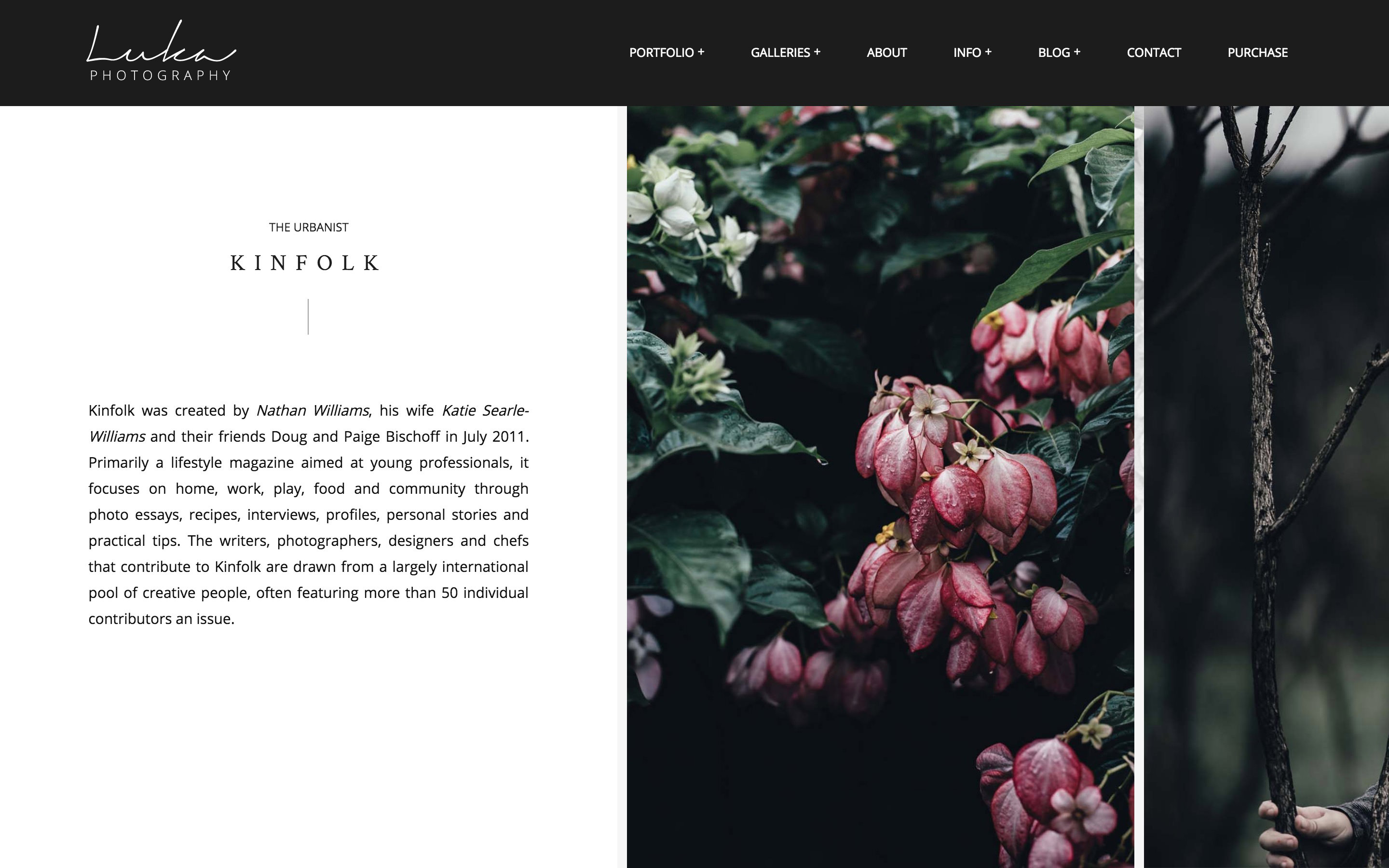 Photography portfolio example - luka WordPress theme