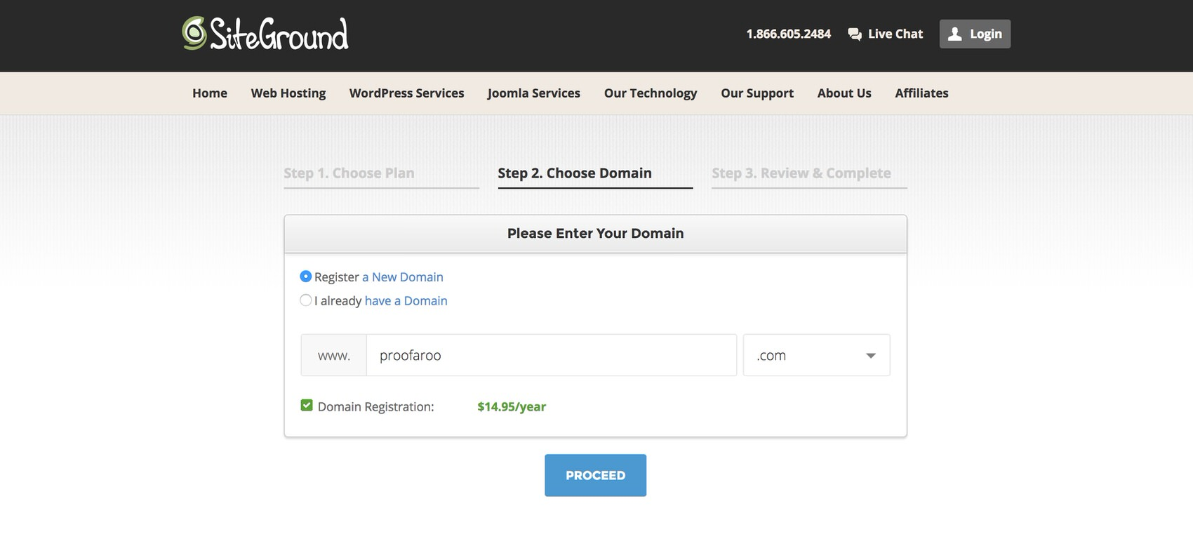 Register your domain name on SiteGround