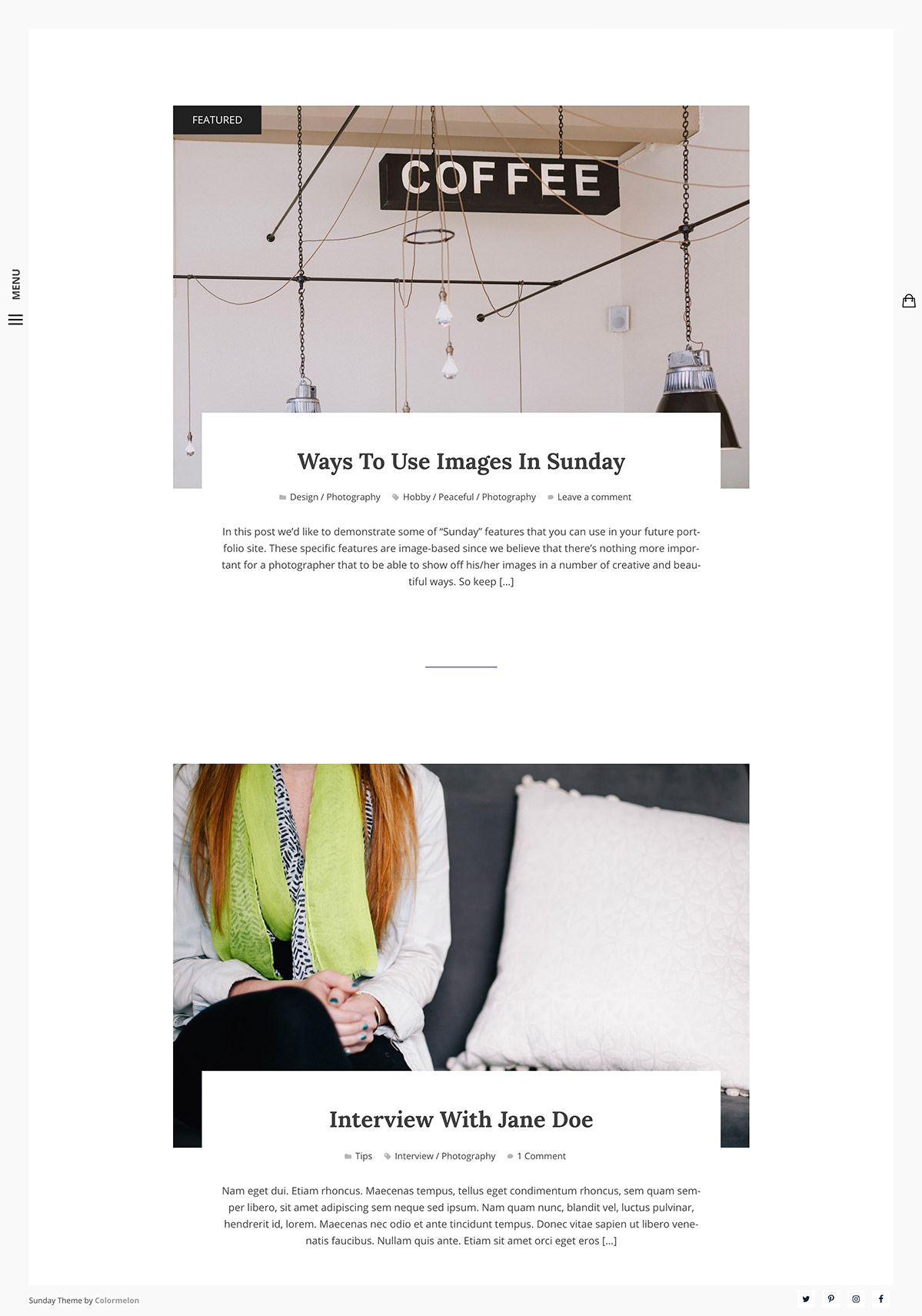 Sunday WordPress theme -blog archive.
