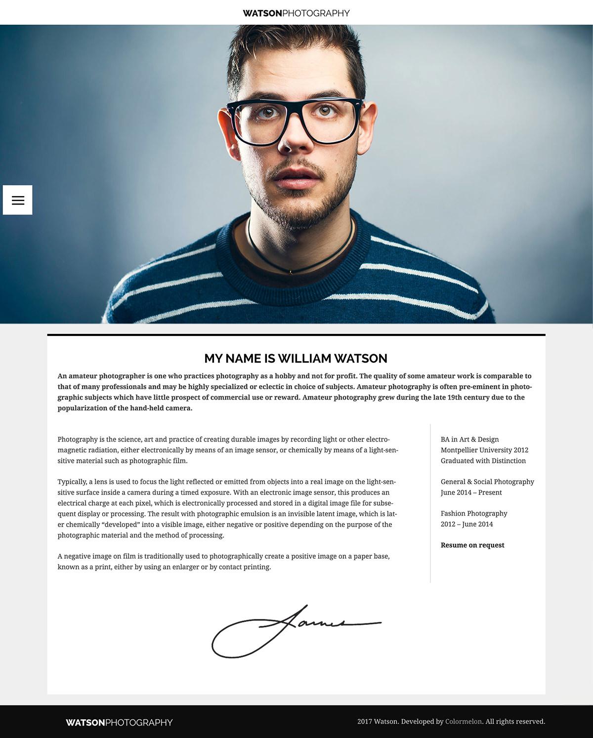 Watson WordPress theme - About Me page