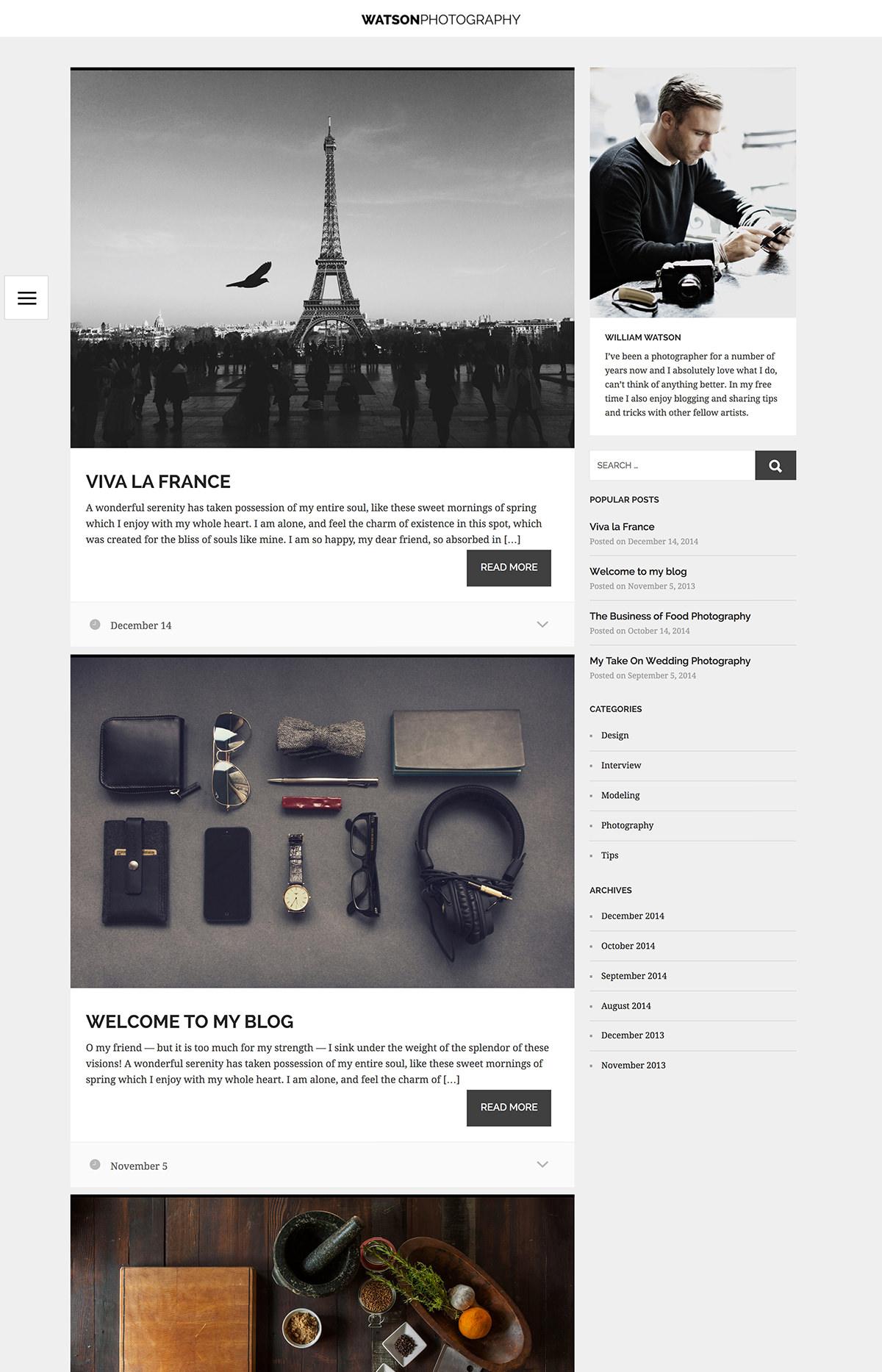 Watson WordPress theme - Blog archive and sidebar