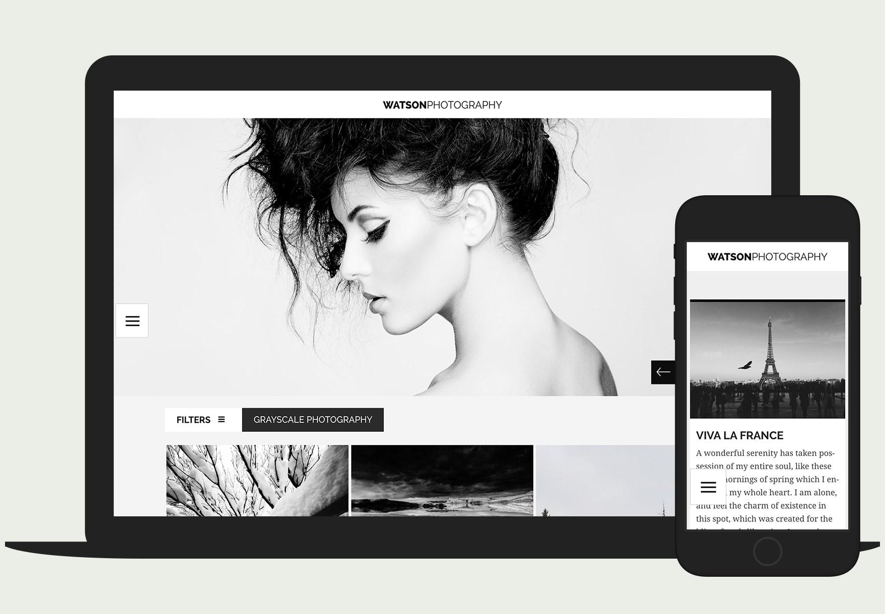 Watson -minimal, modern and responsive photography WordPress theme