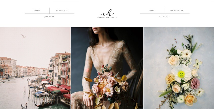 An example of a beautiful ine art wedding portfolio website.
