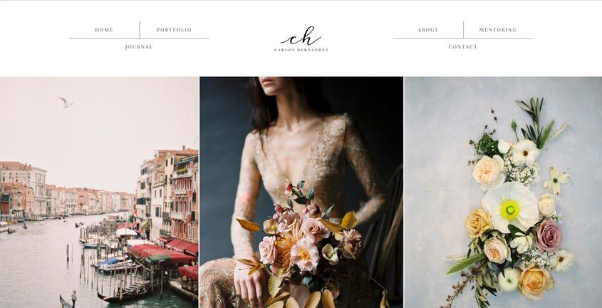 An example of a beautiful ine art wedding portfolio website.