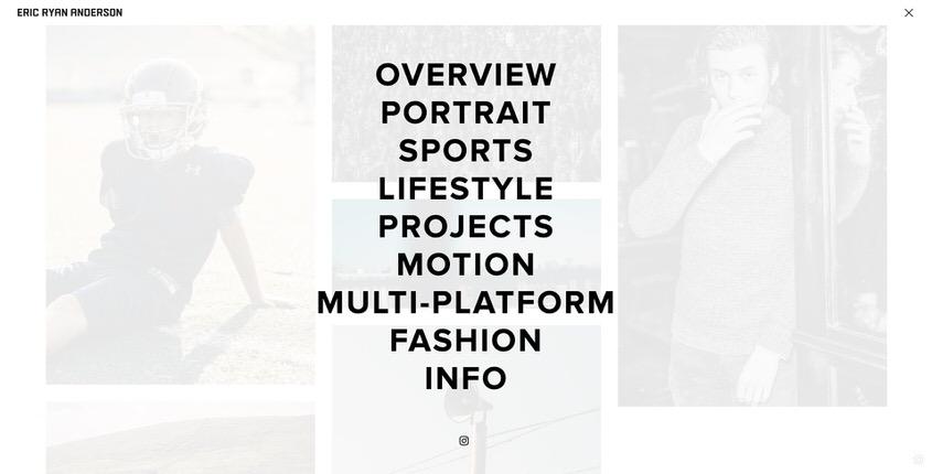 Ejemplo de sitio web de portafolio de fotografía comercial.