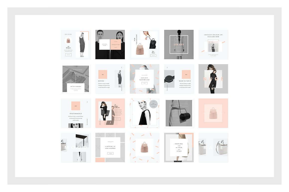 Fashion templates for Instagram posts.