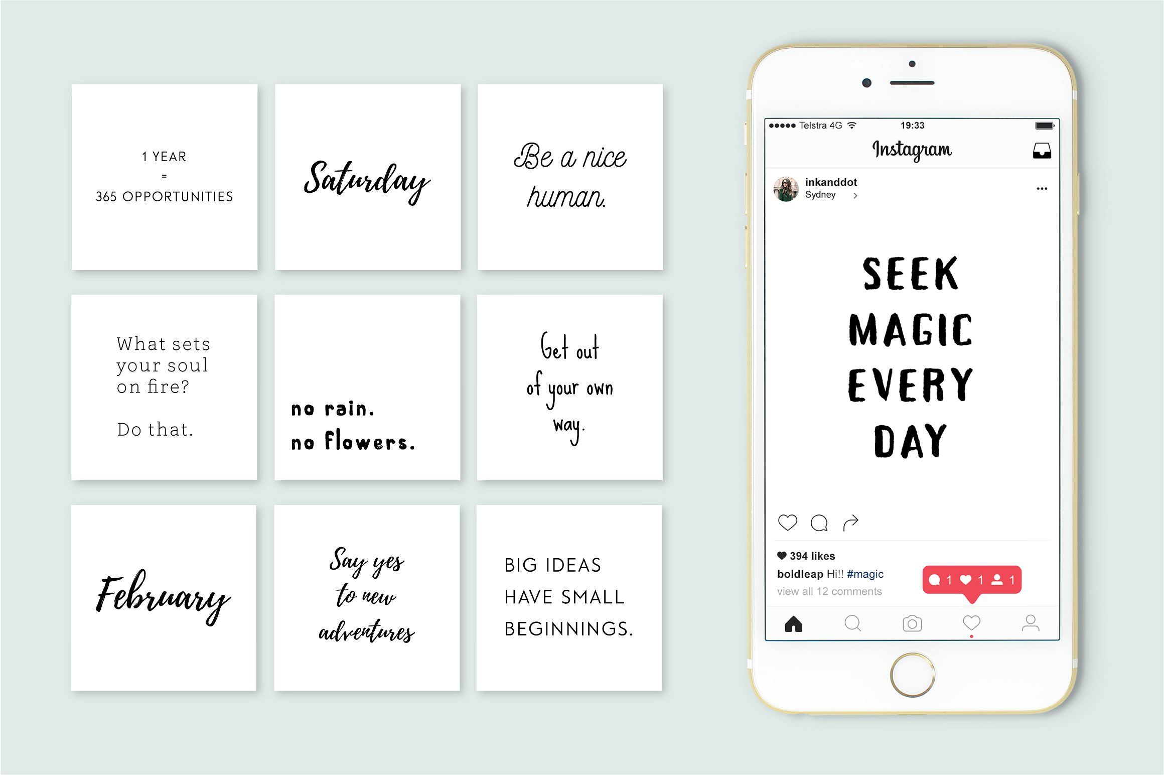 Quote templates for Instagram. Ready to use posts.