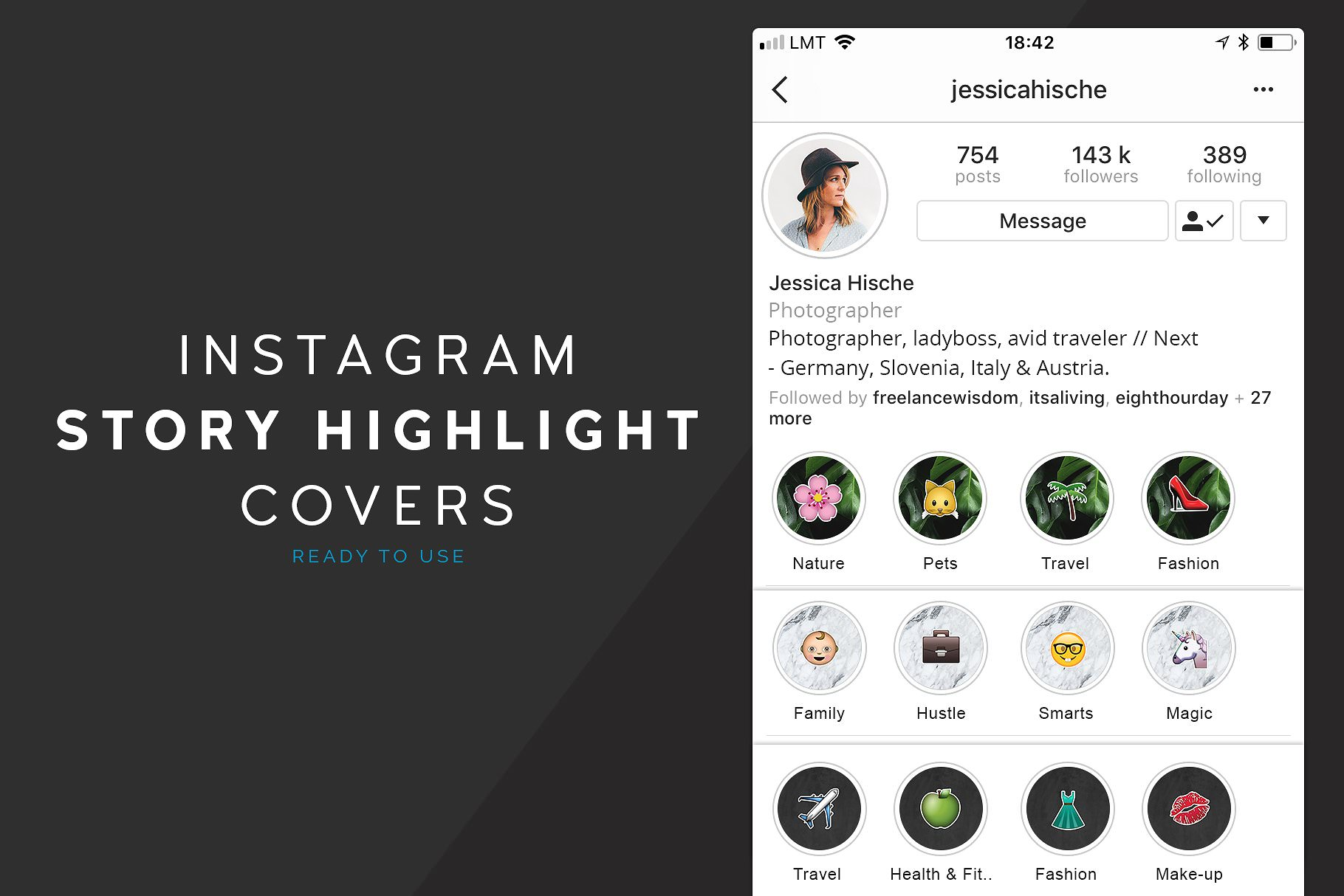 Indtagram Story Highlight Covers with emoji icons and marble texture.