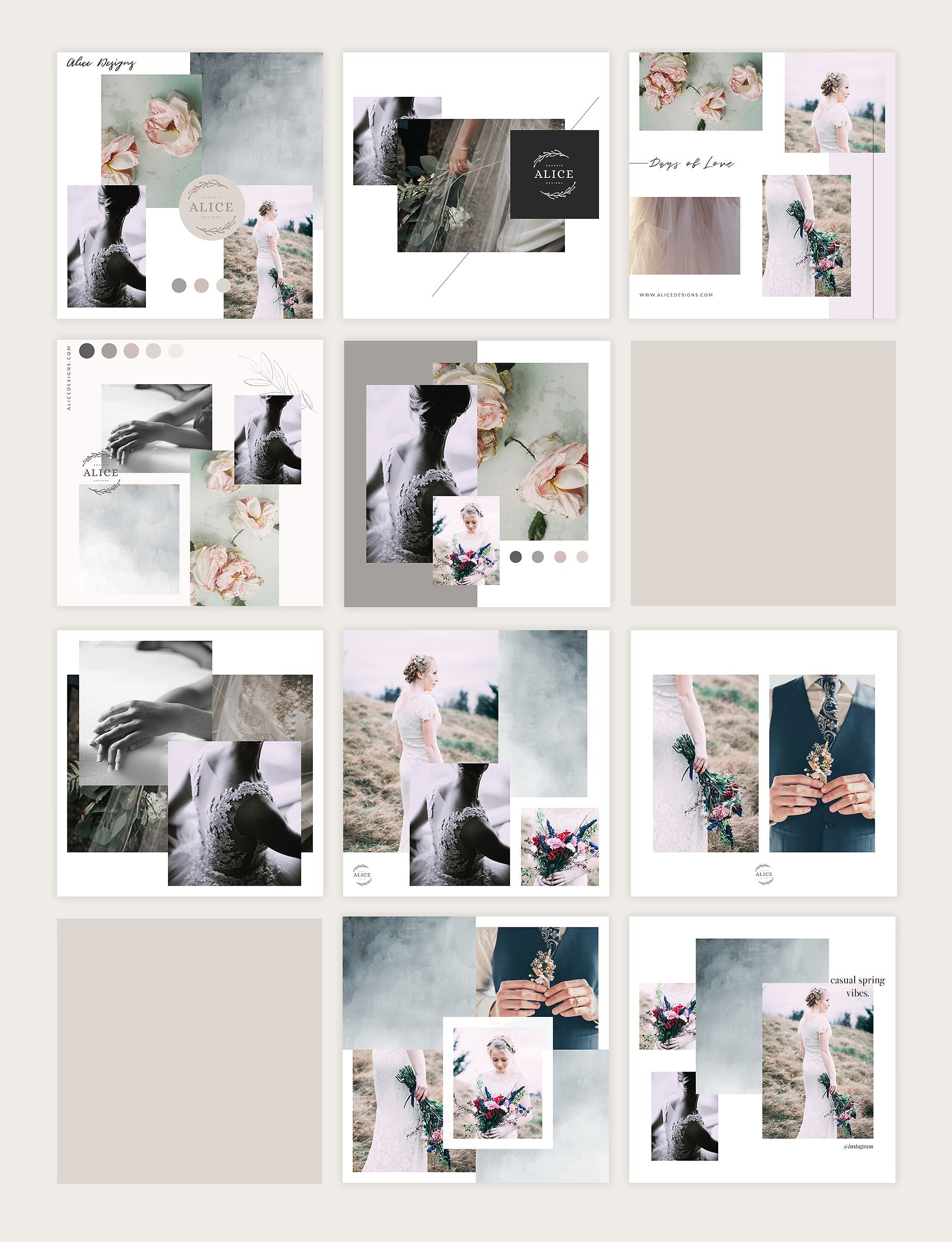 Creative Instagram post templates in a collage mood board style.
