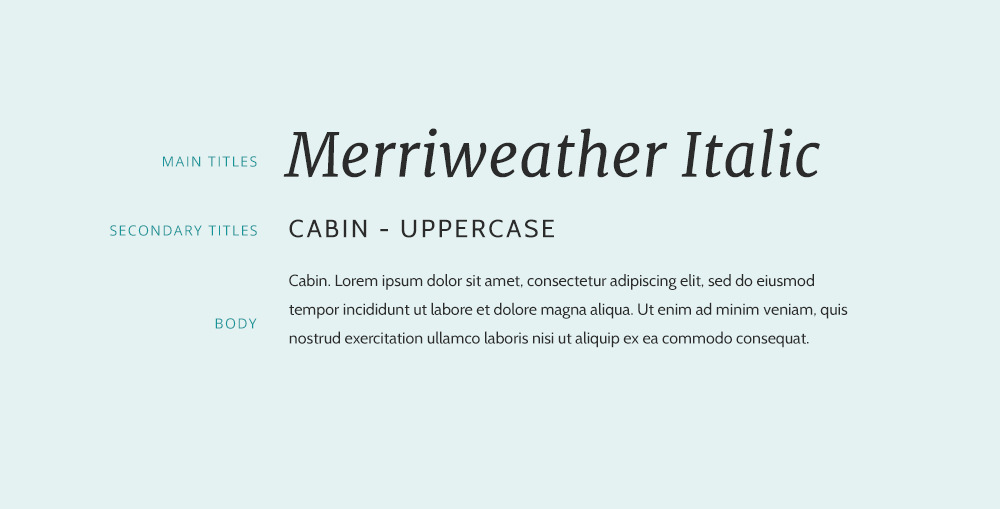 Merriwather font and Cabin font combination.