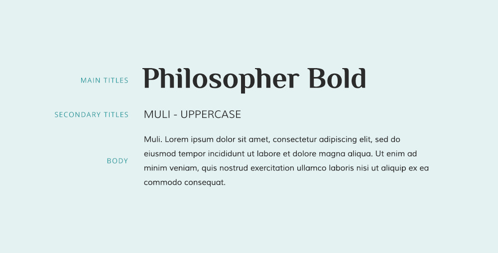 Muli font and Philosopher font pairing example.
