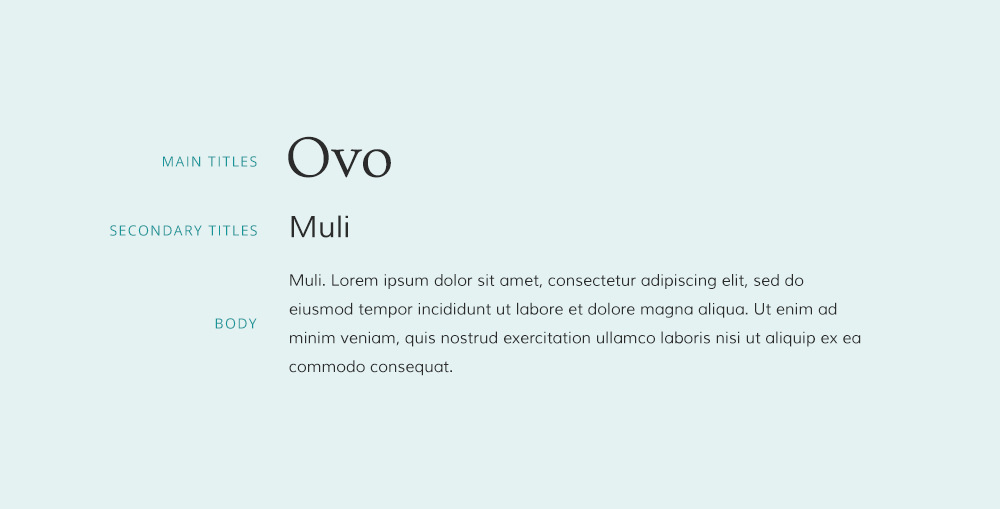 ovo font pairing and Muli font pairing.