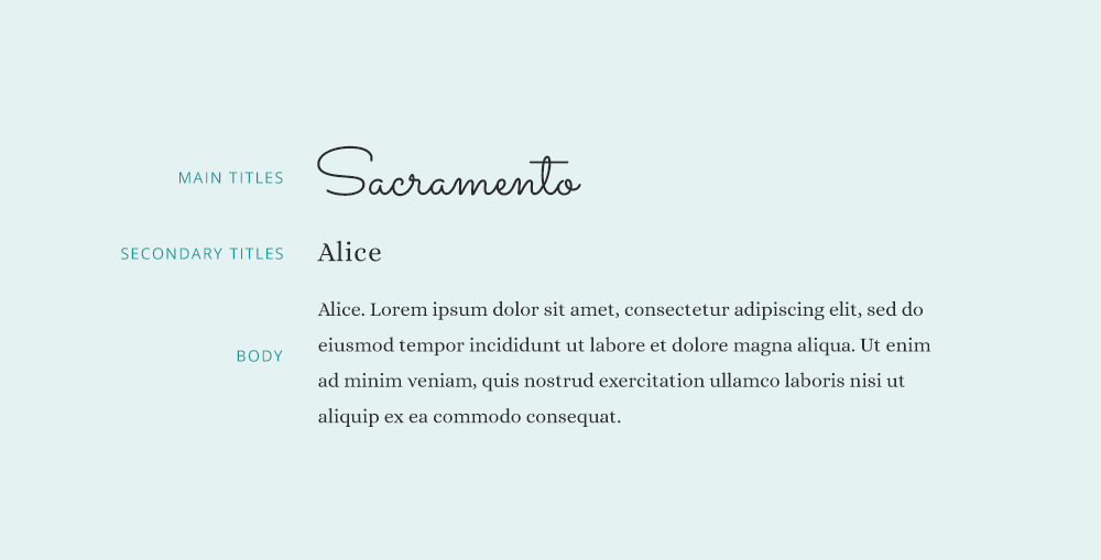 Alice font pairing.