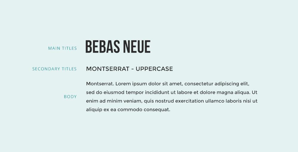 Bebas Neue font combination with Montserrat font.