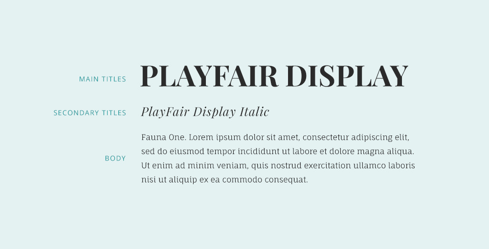 playfair display font and fauna one font combination.