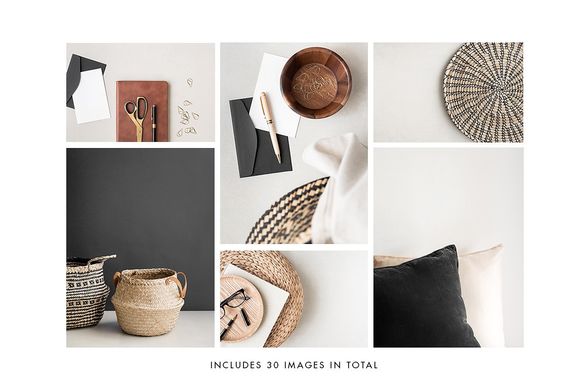 Styled stock photography bundle with boho elements, letters, pen, baskets and duvet covers.