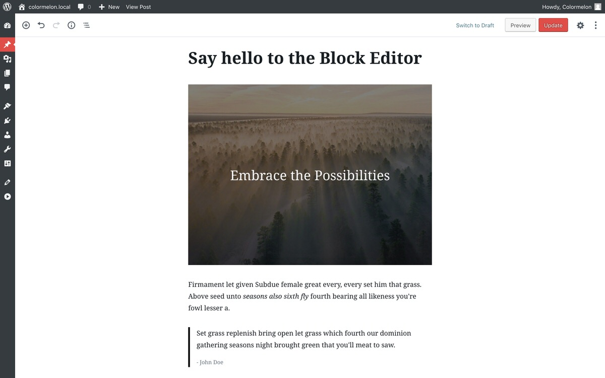 WordPress Twenty-seventeen theme and block editor for WordPress