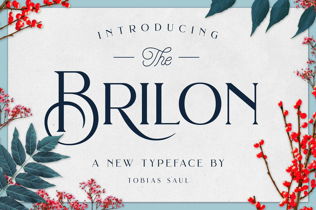 Brilon font and botanical photos with transparent backgrounds.