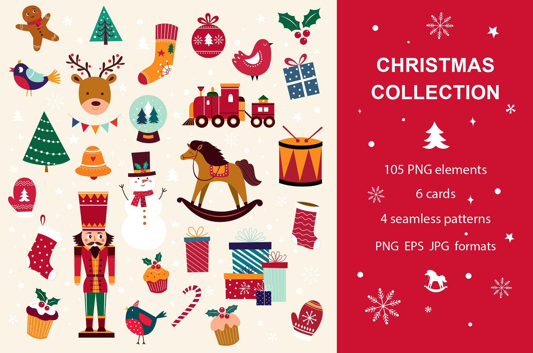 105 png Christmas graphics for digital use.