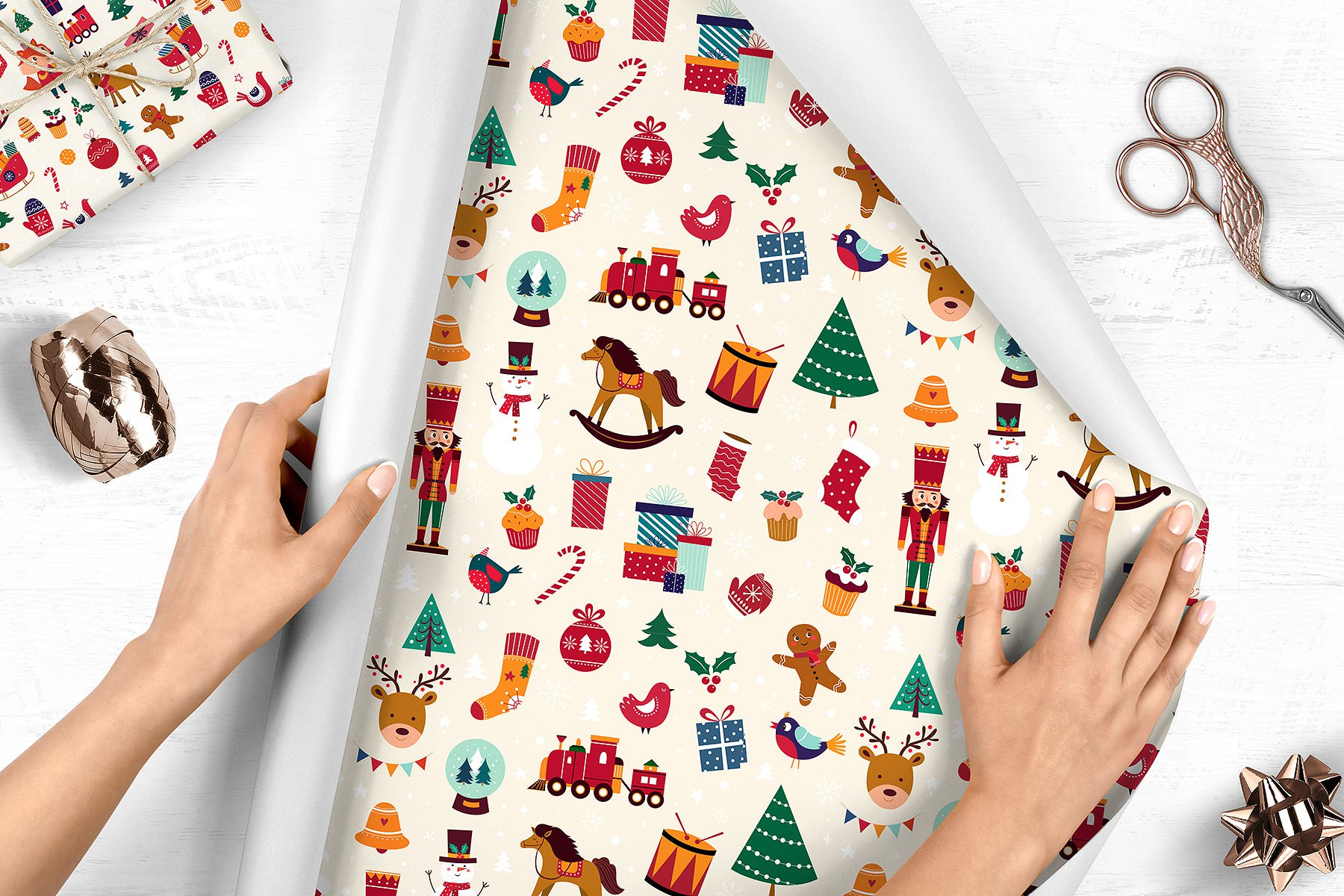 Wrapping paper with custom Christmas print.