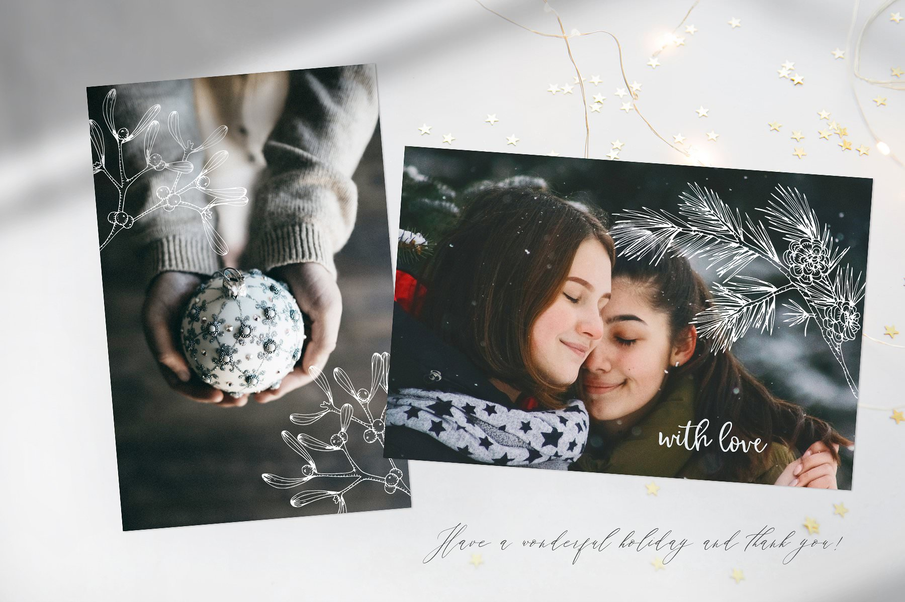 Photography decorated with elegant Christmas graphics.