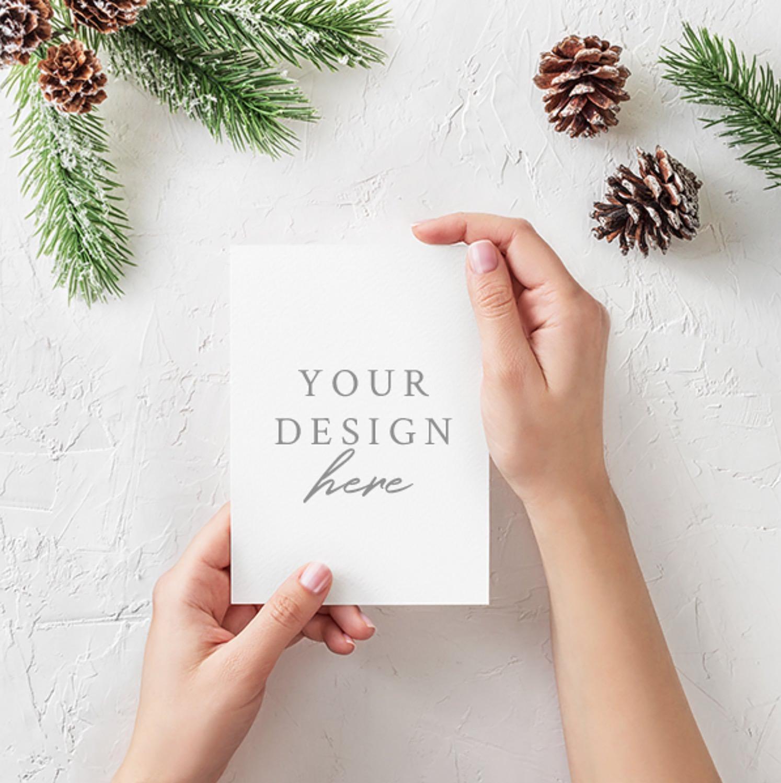Free Christmas card mockup.