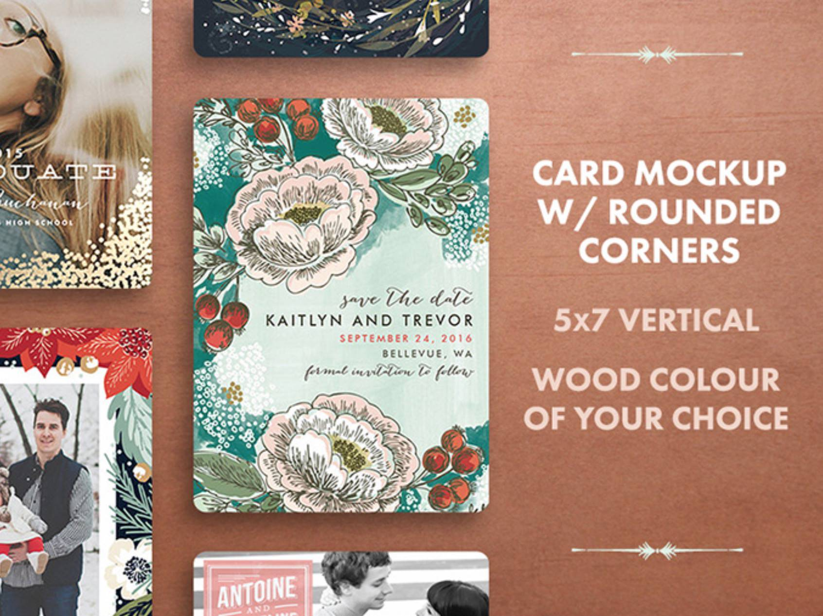 Free holiday card mockups available for download.