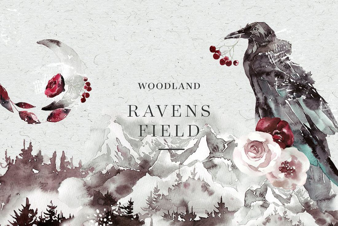 Free download - Watercolor forest and ravens.