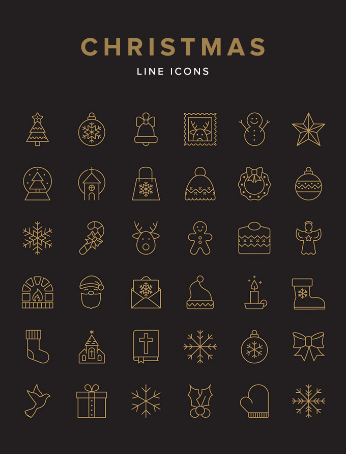 Free Christmas line icon graphics.
