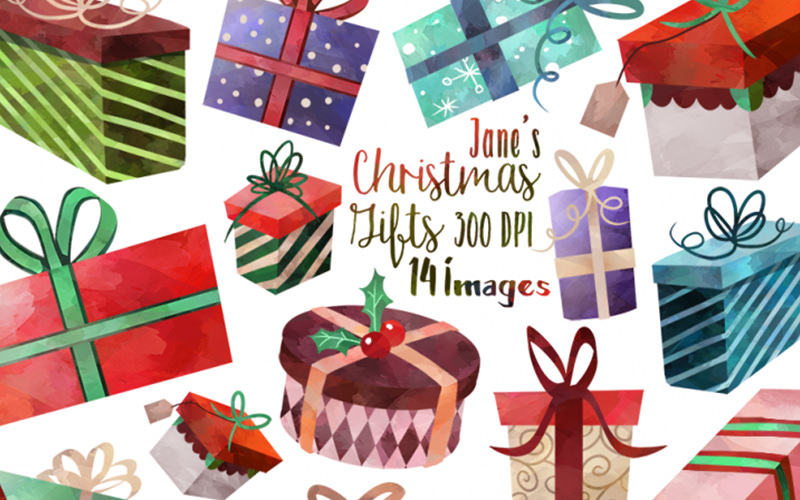 Free Christmas vector graphics - gift box illustrations.
