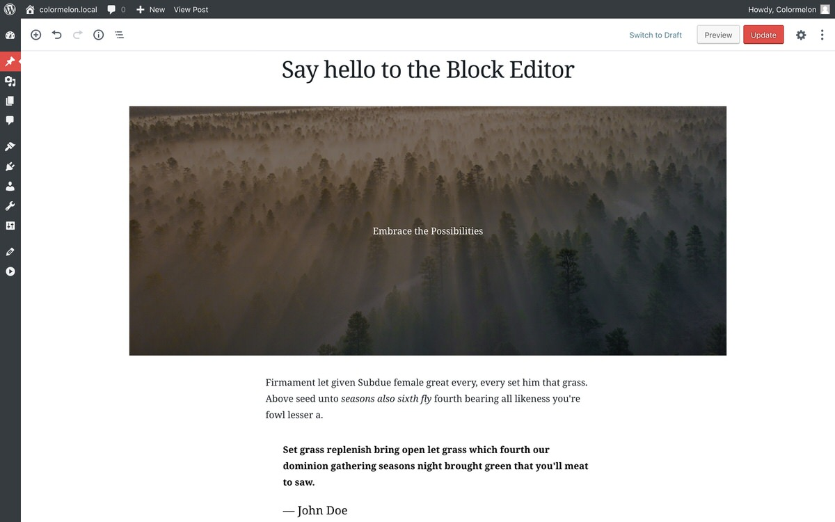 WordPress hamilton theme and block editor for WordPress