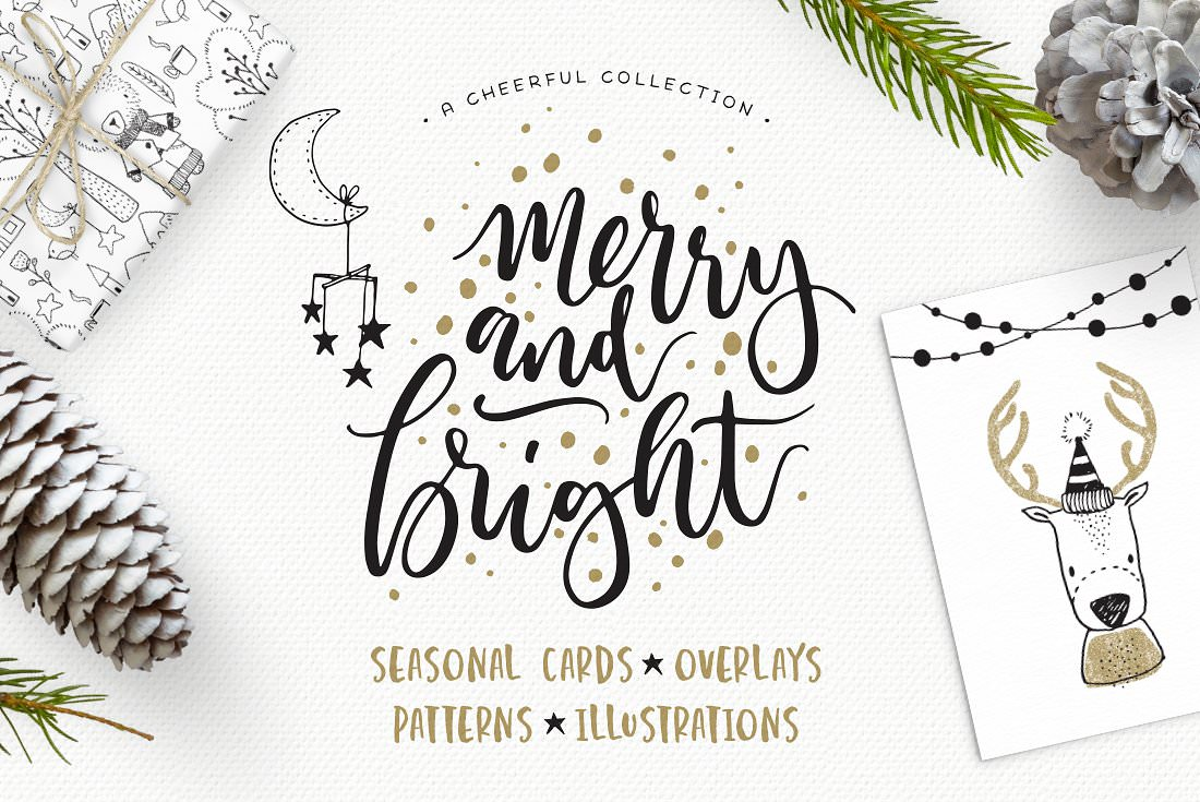 Christmas themed design kit for seasonal cards, patterns and illustrations.