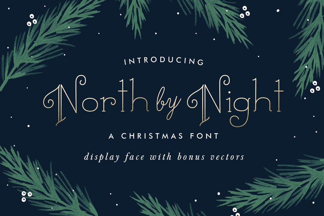 North by Night Christmas font example.