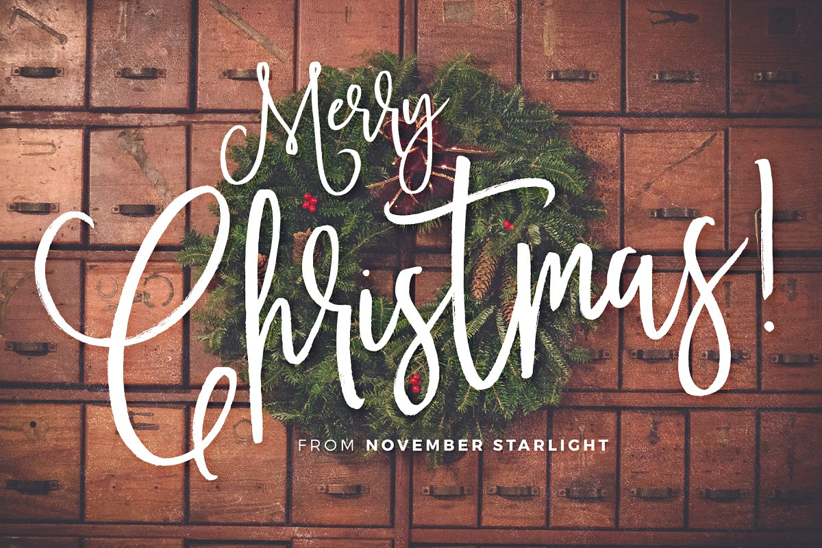November Starlight font - creative hand lettered script font for greeting cards and logo design.
