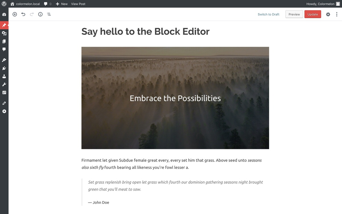 WordPress Poseidon theme and block editor for WordPress