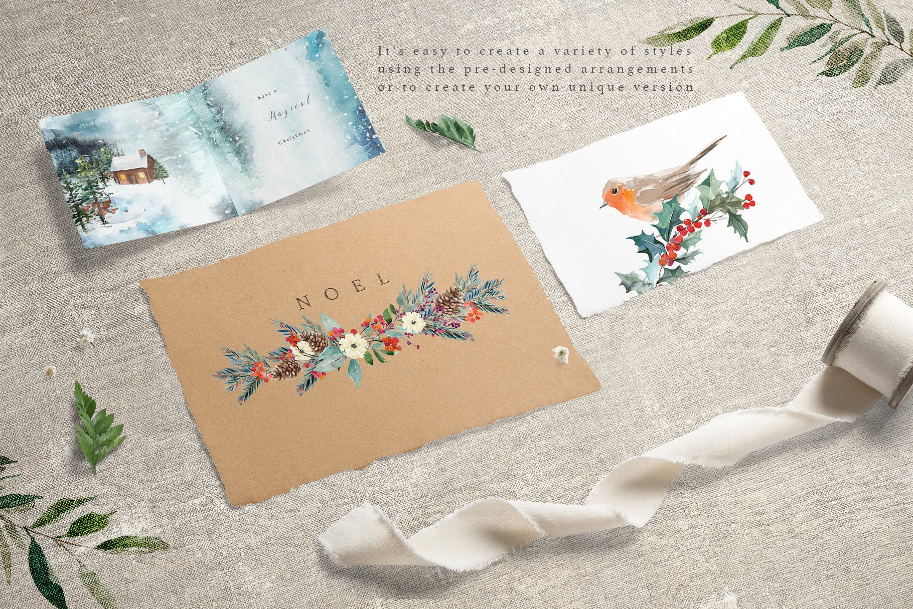Custom printed watercolor greeting cards.