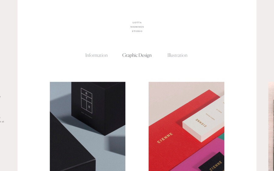 An example of a very elegant and feminine graphic design and illustration portfolio website.