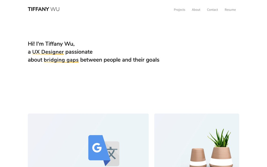 Clean and simple portfolio website example with lots of white space.