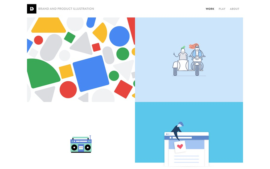 Clean and minimal brand and product illustration portfolio website example.