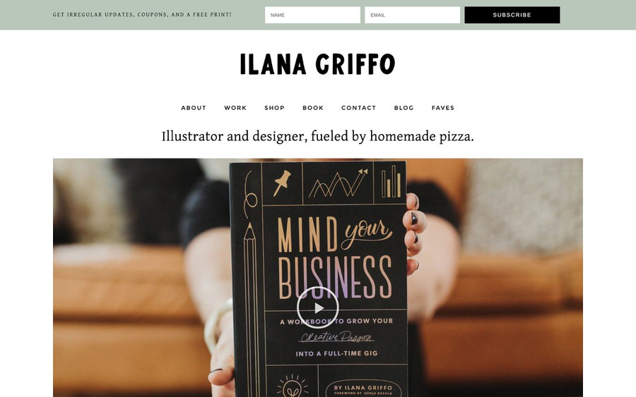 An example of a good illustrator and designer portfolio website.