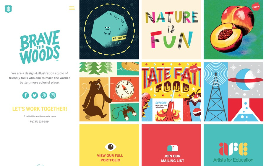 Colorful and fun illustration portfolio website example.