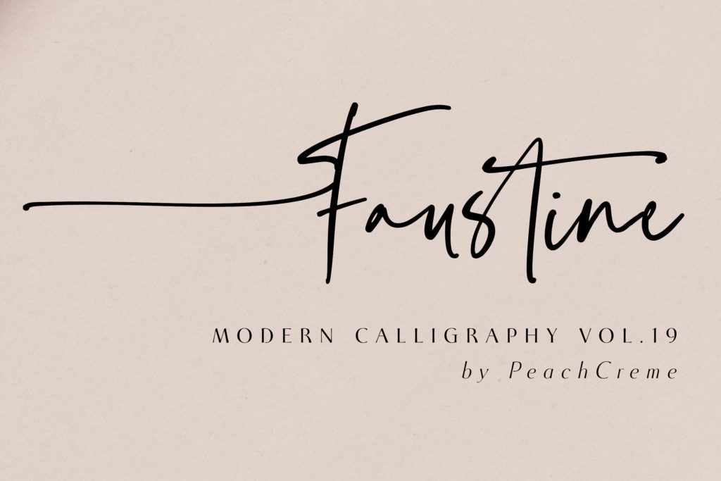 Faustine - modern script calligraphy font example.