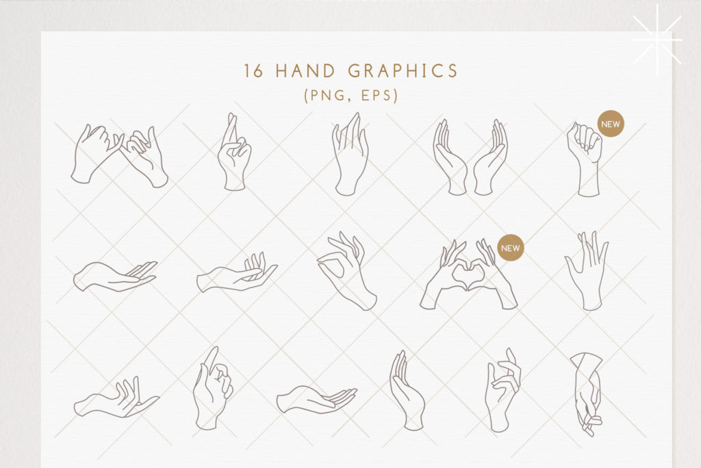 Delicate hand graphics and pre-made logo templates.