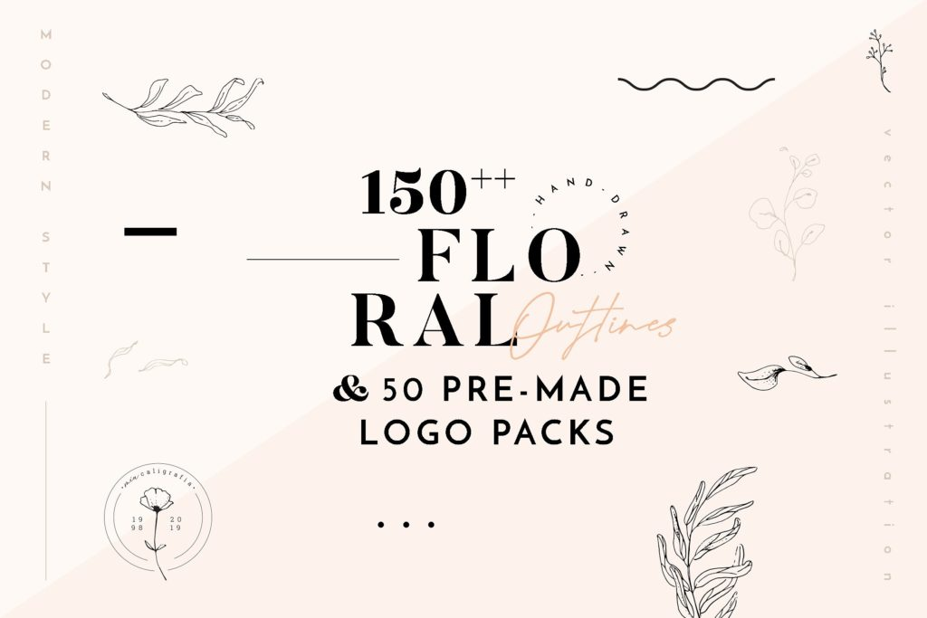 Cover art for Floral Outlines and Logo pack.