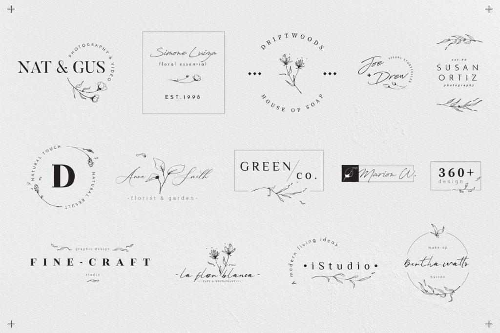 50 pre-made floral logo templates.