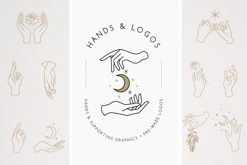 Feminine hands vector graphics in various positions. Perfect for logo design.