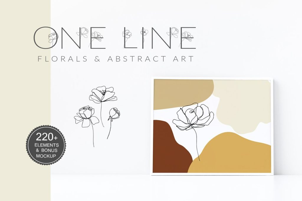 One-line floral graphics and abstract shapes.