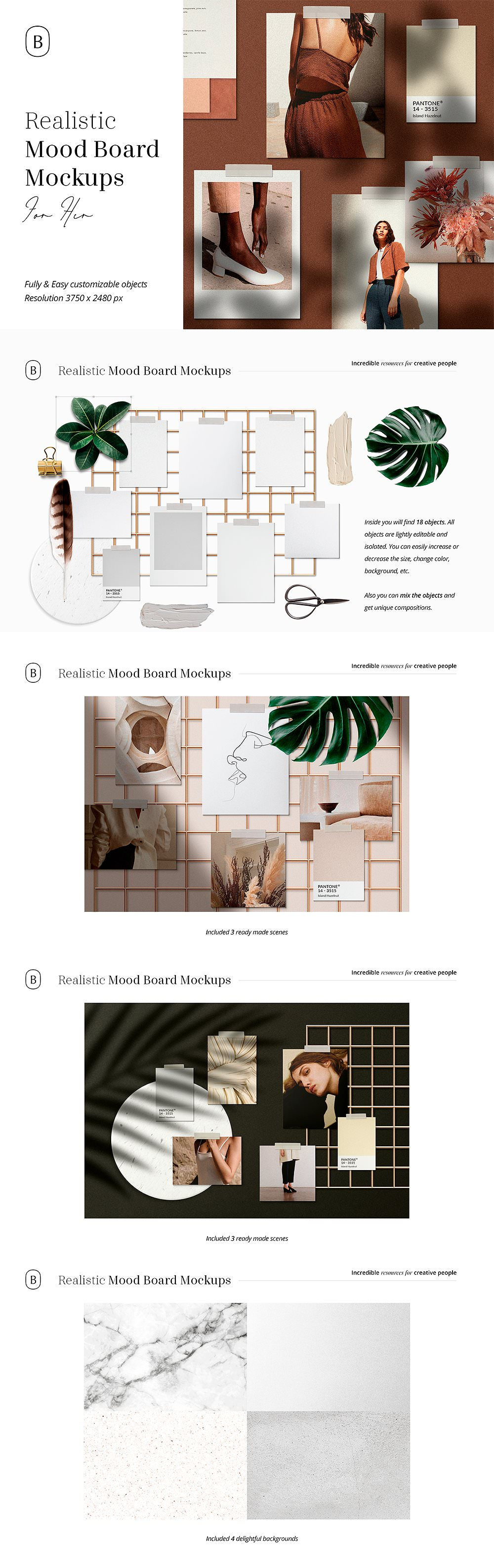 Realistic mood board mockup presentation.