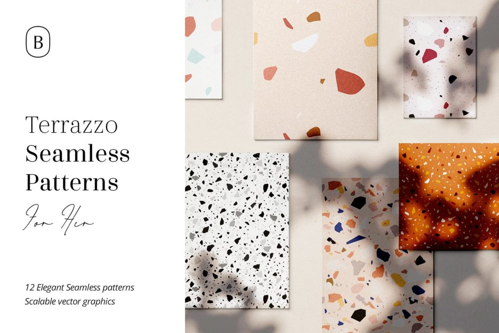 Terrazzo seamless patterns.